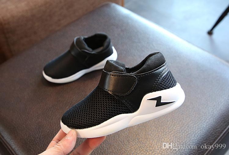 2019 Brand New Spring autumn Non-slip breathable mesh surface airr kids running shoes baby sneakers black white red boys grils