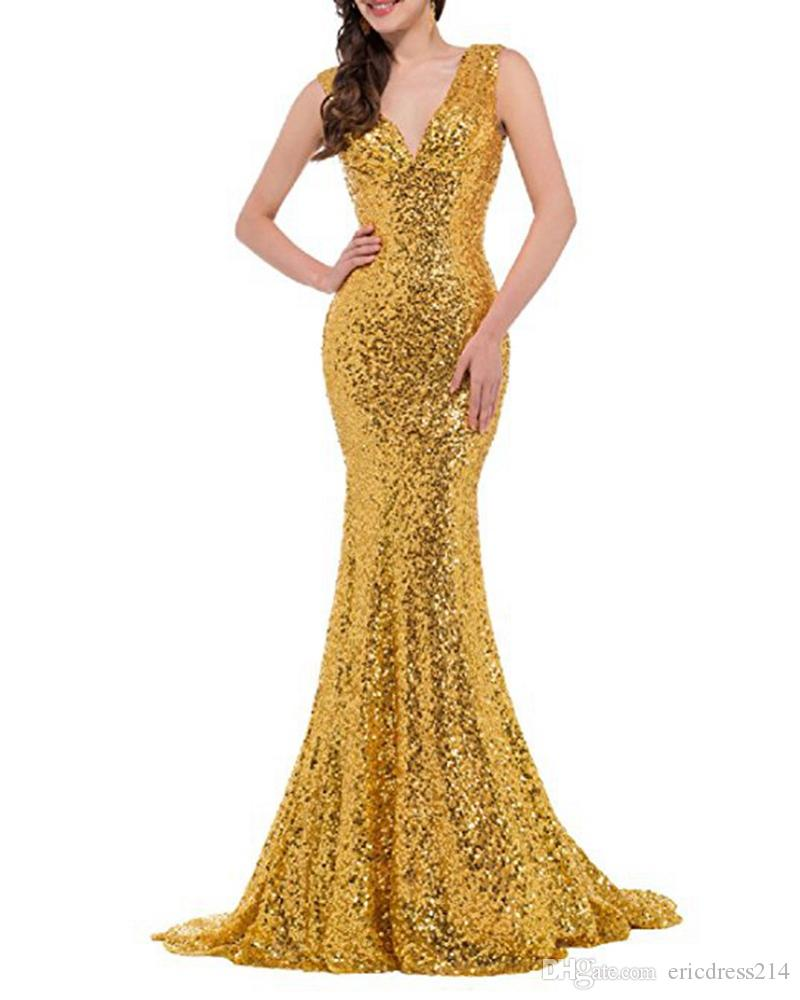 2018 Cheap Gold Mermaid Long Bridesmaid Dresses Sexy V Neck Sequined Party Gowns Maid of Honor Dress Plus Size Custom