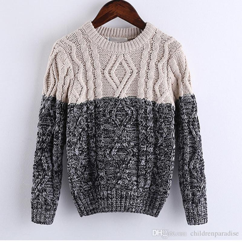 Children Boys Fashion Cable Knit Color Block Knitted Pullover