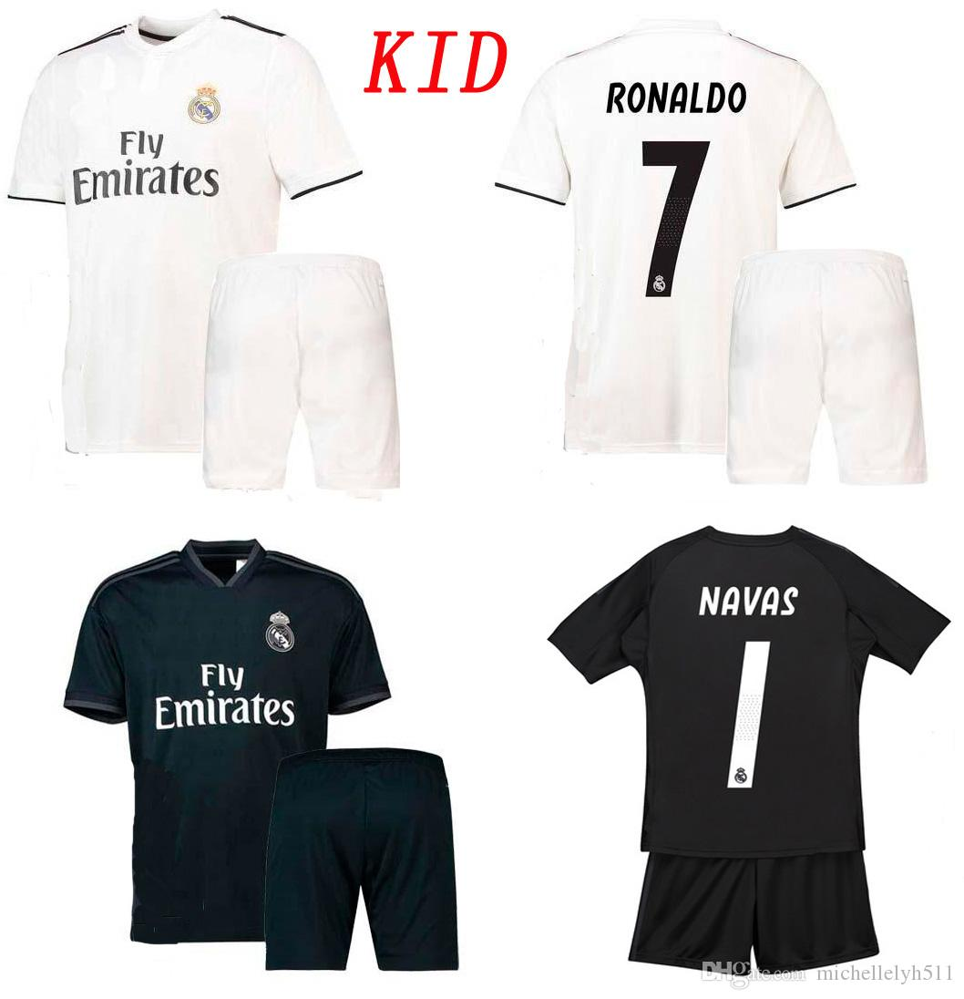f02ac9839 2019 Kids 18 19 Real Madrid Soccer Jersey Shorts 2018 2019 Ronaldo Ramos  Bale ASENSIO ISCO Football Set Goalkeeper NAVAS Courtois Football Kits From  ...