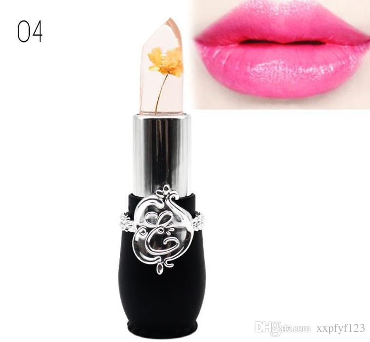 Hot New Long Lasting Moisturizer Transparents Flower Lipstick Cosmetics Waterproof Temperature Change Color Jelly Lipstick Balm Make up