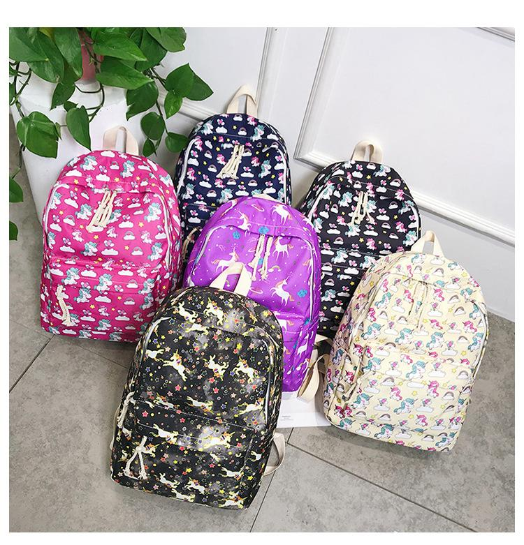 c3e2cbc4c1 Unicorn Printed Girls Schoolbag Backpack Cute Fashion Backpack Childen Gift  Cartton Animal Travel School Bag AAA1252 School Backpack For Kids Plain  Black ...