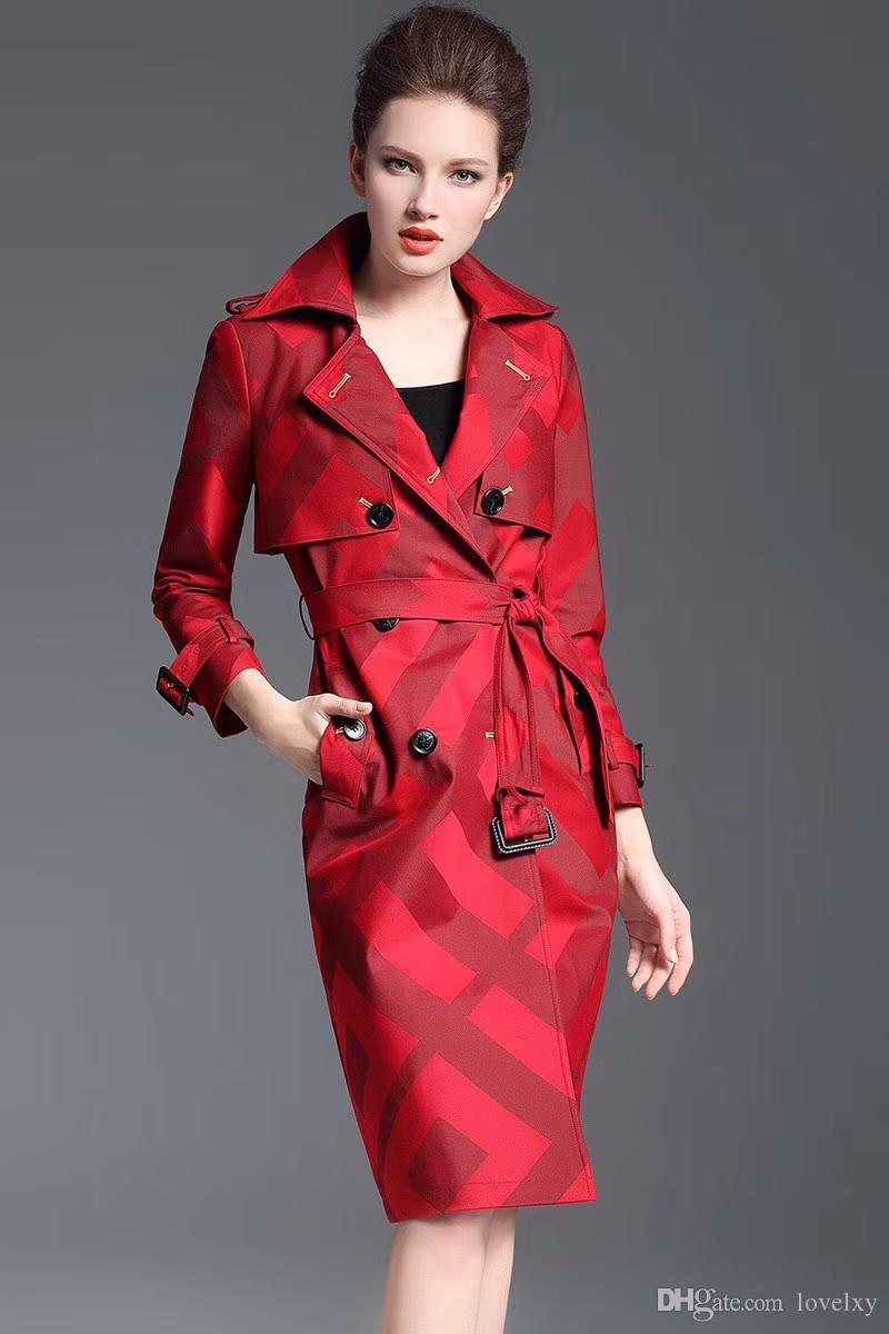 74d1001a6 Women brand new European and American Slim Long double-breasted trench coat  women's Cotton windbreaker free shipping high-end wholesale