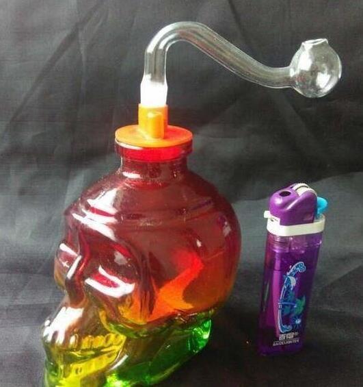 Ücretsiz kargo toptancılar ----- Renkli cam cam kafatası kemikleri Nargile / cam bong, aksesuarları bir dizi olsun ndbhn