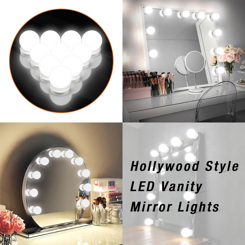 Mirrored vanity light strips