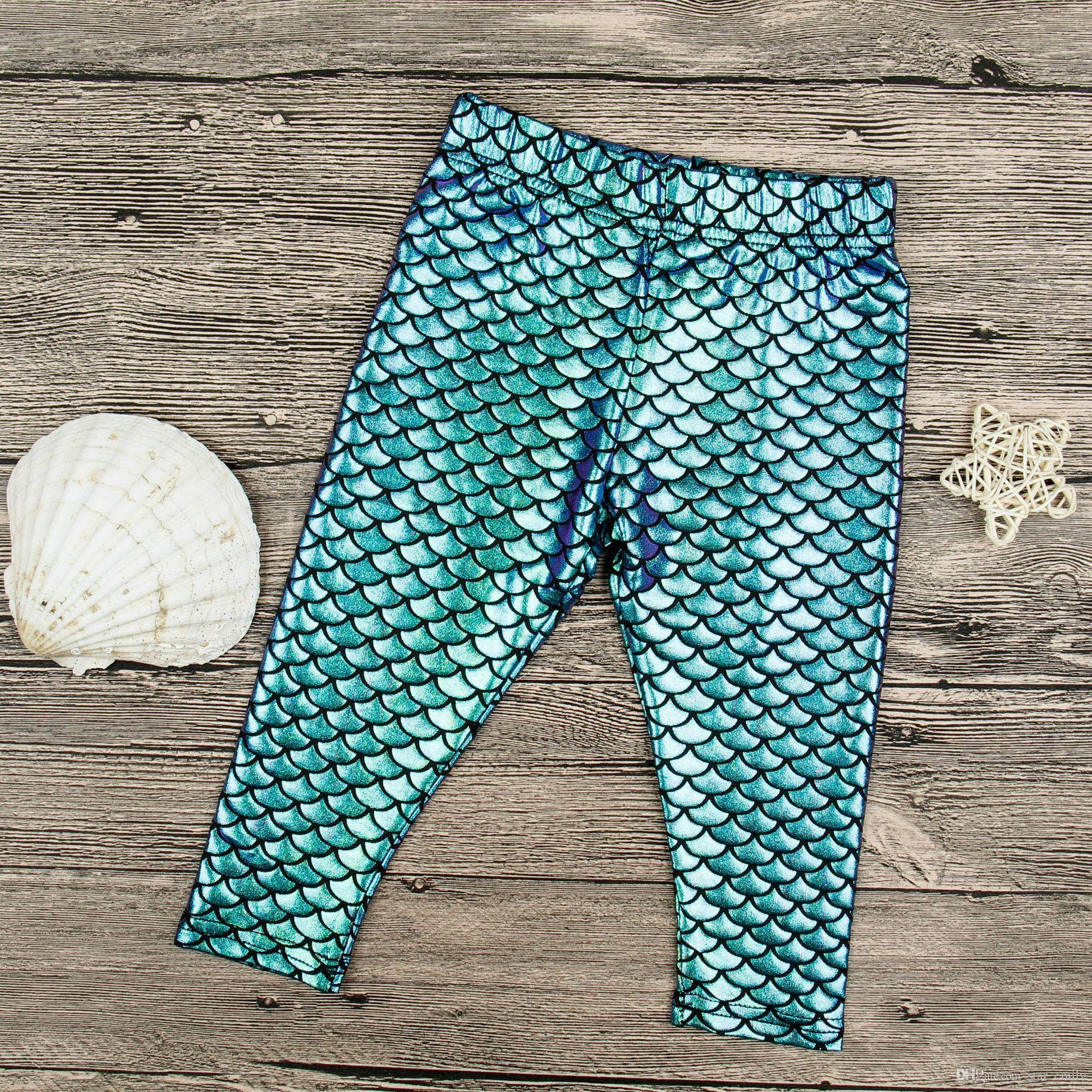 New Girls Kids Mermaid unicorn Cute Pants baby Colorful Digital Printing Child Leggings Pants mermaid fish scale shiny pants for girl 360