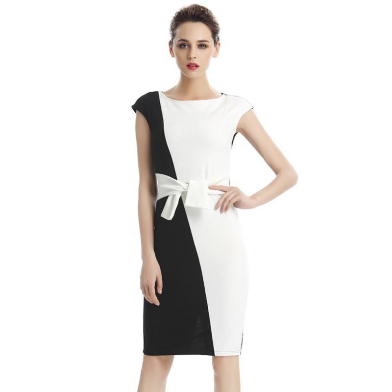 1af3965e23 Compre Vestidos Formales Femeninos Office Career White Pencil Dress Sin  Mangas De Verano Elegantes Vestidos Ajustados Para Mujeres A  22.9 Del  Sinofashion ...