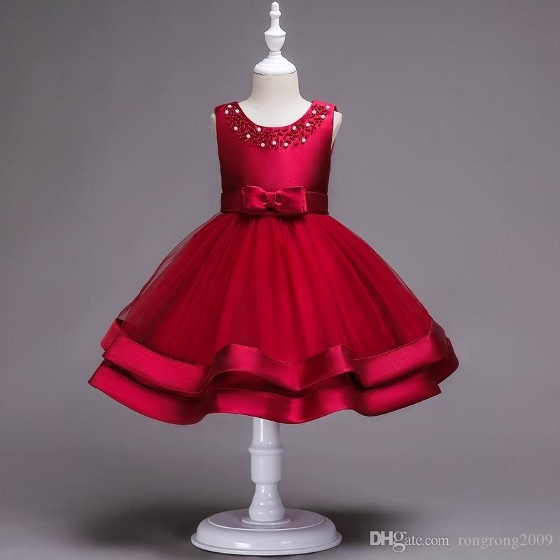 598bc38ec539 2019 Retail Boutique Children Christmas Dress Pearl Beading Party Perform  Flower Girl Dress Teired Gauze Kids Clothing 2 12 Years A01 From  Rongrong2009, ...