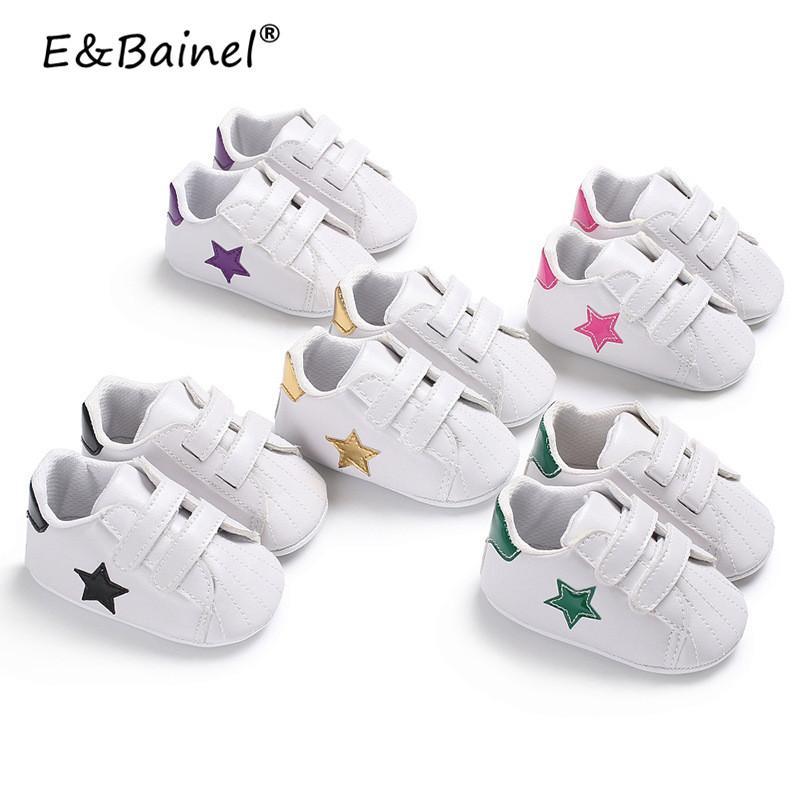 4740e71a Compre Five Star Print Baby Shoes Toddler First Walkers Mocasines Para Bebés  Cuero De PU Suela Blanda Zapatillas De Deporte Para Niñas Niños Recién  Nacidos ...
