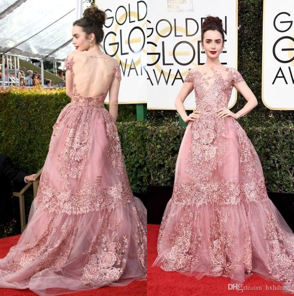 2019 Nuevos Premios de los Globos de Oro 74. Lily Collins Zuhair Murad Vestidos de noche para celebridades Sheer Backless Pink Lace Appliqued Red Carpet Gowns