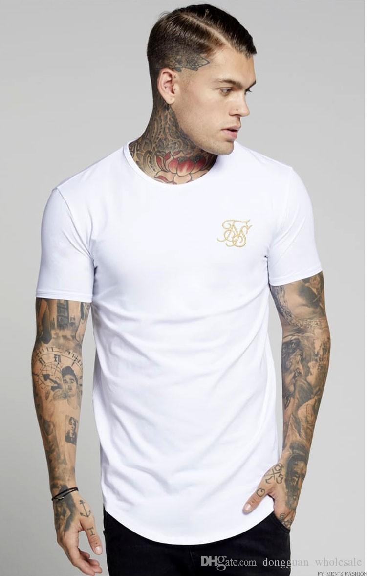 Мужчины СС Сик шелк Kanye West Sik шелк мужчины повседневная хип-хоп нерегулярные изогнутые Подол с коротким рукавом футболки черный белый серый