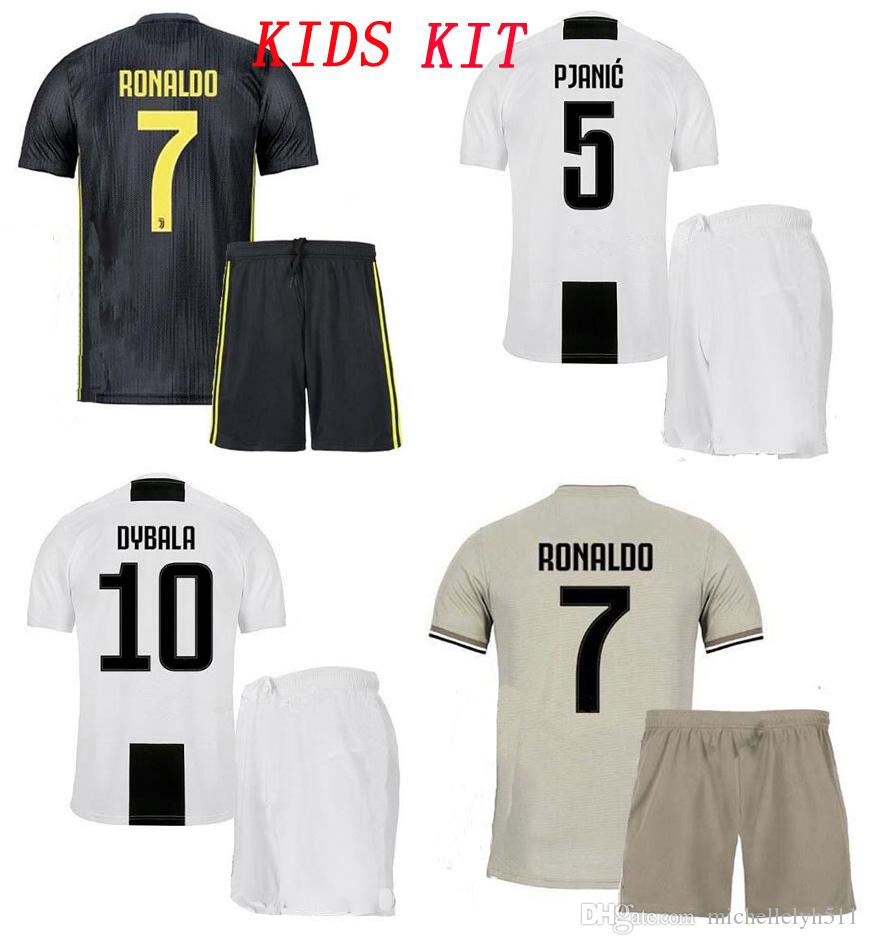 3aebfc08c01 18 19 Kid's JUVENTUS Soccer Kits Dybala Ronaldo Football Shirts Shorts  D.COSTA CHIELLINI MARCHISIO Soccer Sets Boy's Outdoor Sports Uniforms
