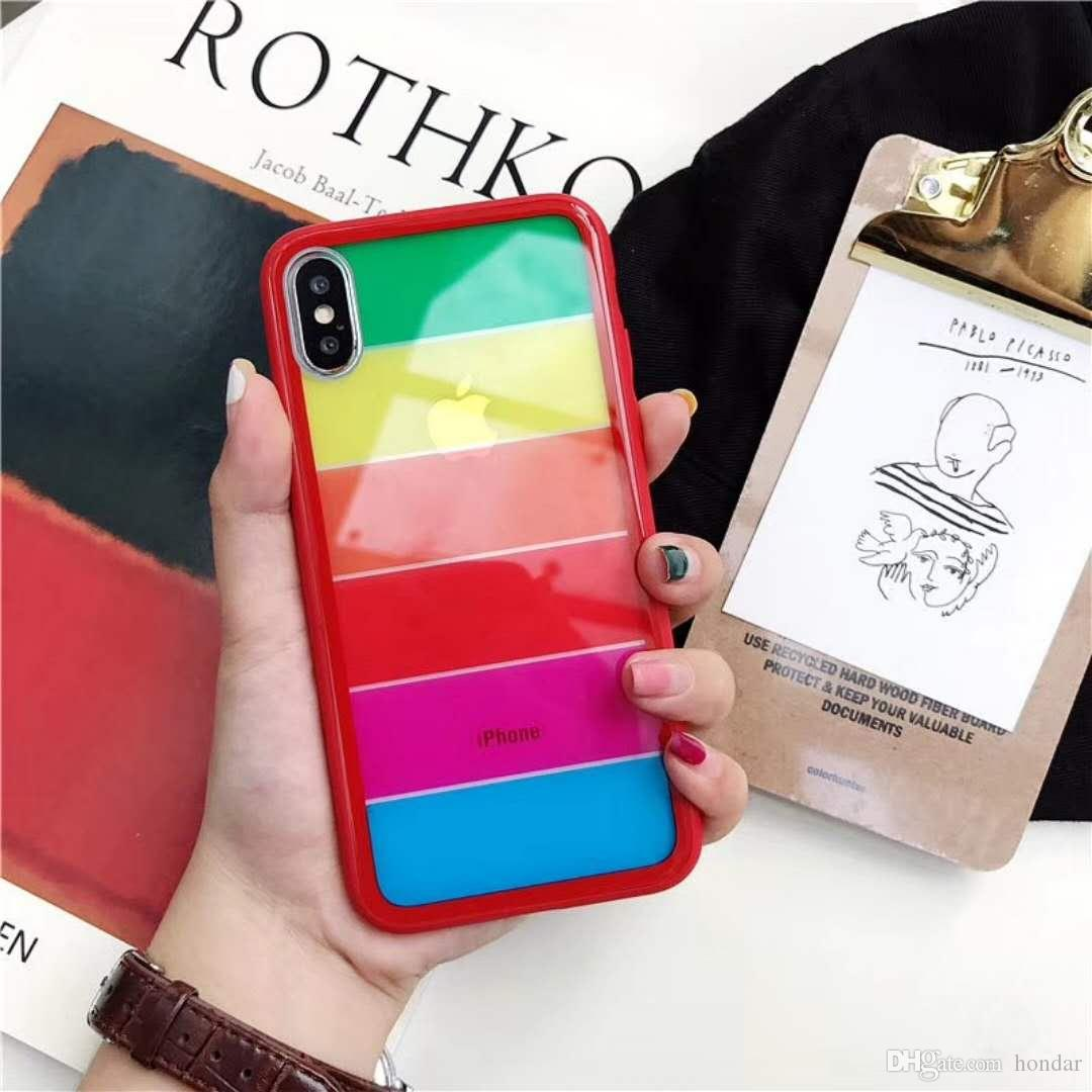 online store 4c640 c03fc 2018 Global hits For iphone 8 plus case luxury brand Rainbow color design  for Goophone x designer phone case tempered glass phone cover