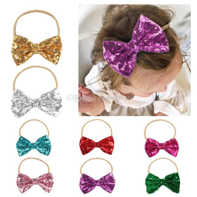 Baby sequin headbands shiny bow nylon hairbands kids girls bowknot headwear children hair accessories christmas wear