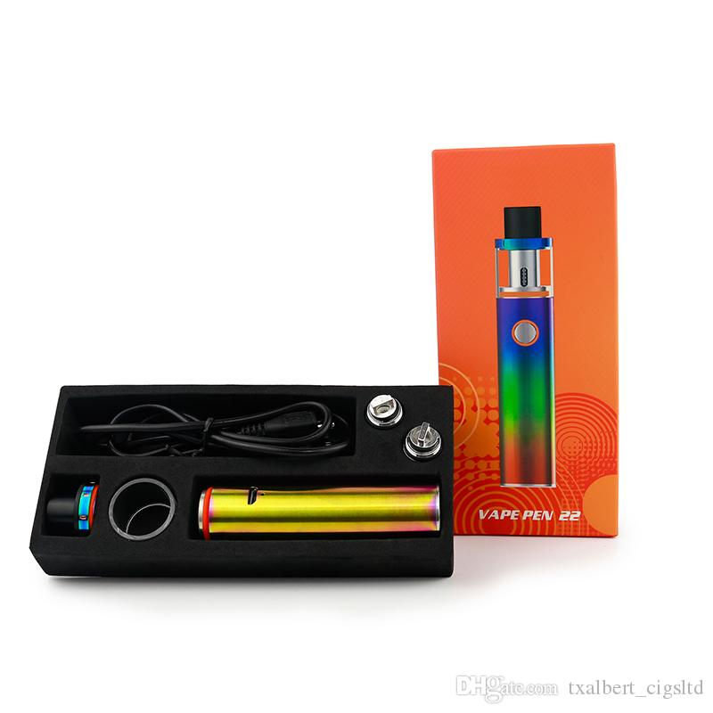 100% Original Vape Pen 22 Starter Kits 1650 mah Batterie 0,3 ohm Dual Core Vape stift stick 22mm Tank alle in einem E Zigarette