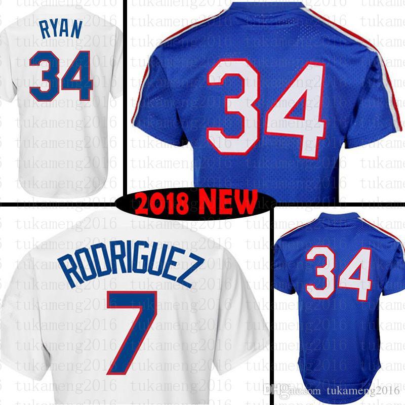 34 Nolan Ryan 7 Ivan Rodriguez Baseball Jerseys Embroidery Logos 100 ... b75415de5