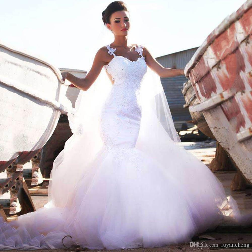 Vestidos De Noiva Romantic White Lace Appliques Mermaid Wedding Dresses Bridal Wedding Gowns Straps Appliques Tulle See Through Court Train