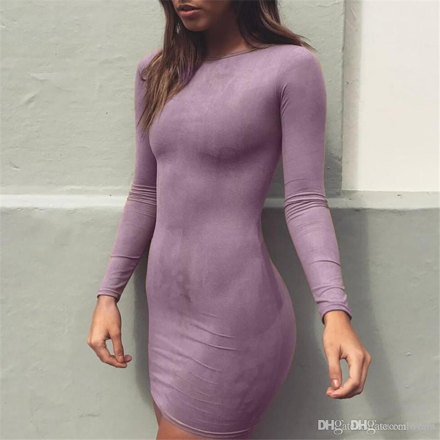 2018 New Fashion Women Sexy Suede Dresses Long Sleeves O-neck Velvet ... 65a72ab14