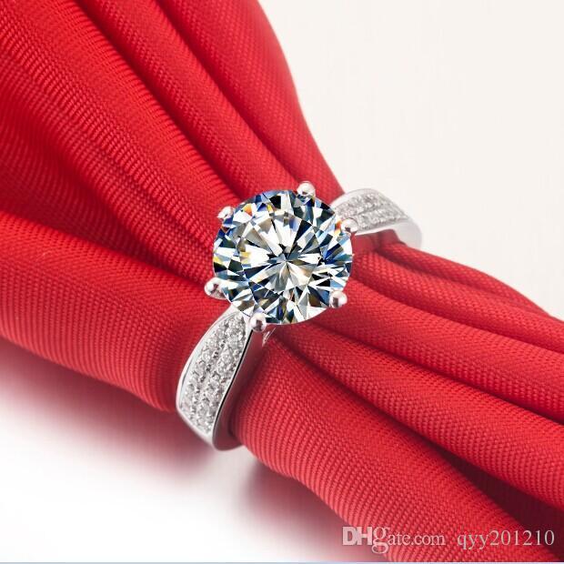 Takı Marka 1CT Parlak Kalite Çatalak Pırlanta Yüzük Gümüş Yüzük Nişan Yüzüğü Kadınlar için Platin Kaplama