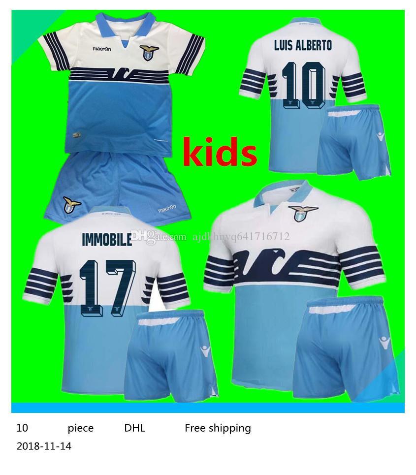 7eb3afb52e Compre Jérsei Para Crianças Lazio Home Camisolas De Futebol 18 19 Crianças  F.ANDERSON LUCAS KISHNA BASTA D JORD JEVIC KEITA IMMOBILE LULIC Camisas De  ...