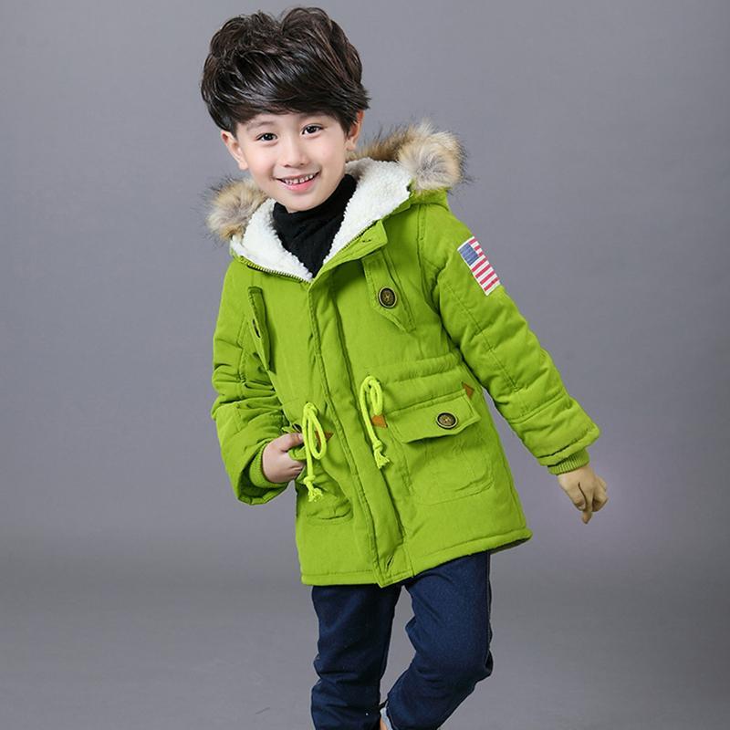 2-8 t mädchen jungen mäntel und jacken 2017 herbst winter koreanische jungen usa flagge mit kapuze mantel dicke baumwolle wärmer kinder wintermantel mädchen
