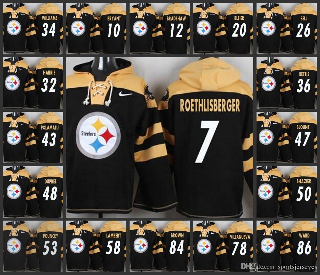 26e9eda5f 2019 Hot Pittsburgh Steelers Man 7 Ben Roethlisberger 26 Le Veon Bell 84  Antonio Brown 48 Bud Dupree Pullover Hoodie Online with  47.11 Piece on ...