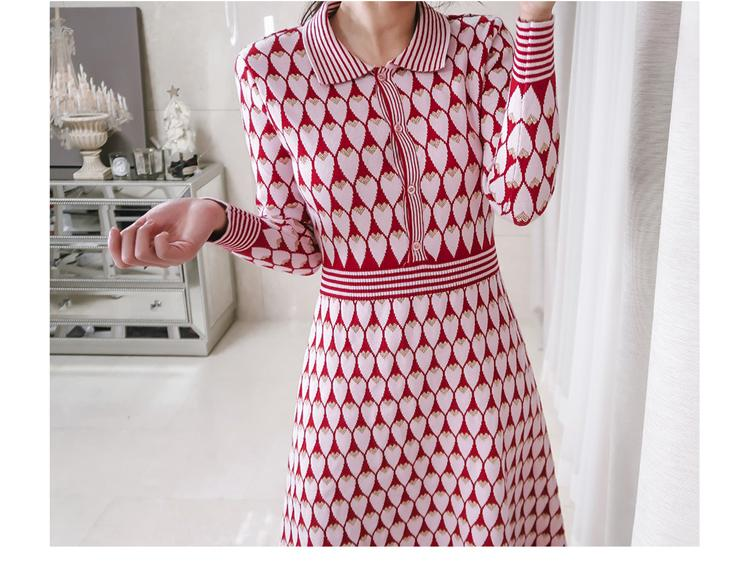 Newest Winter Women Vintage Red Love Shape Jacquard Knitted Dresses Lady Brand Clothing Single Breasted Thick Midi Sweater Dress