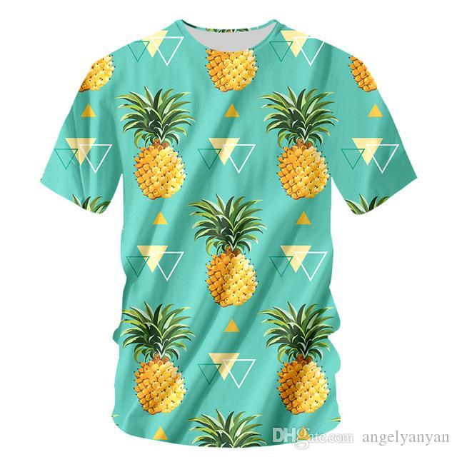Moda Meyve Komik T-shirt Erkekler Tshirt 6XL Ananas Turuncu Baskı Harajuku Üstleri Tee Rahat Kısa Kollu erkek 3D T Gömlek