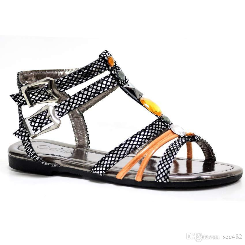 953d0fa1aa6045 2019 Ladies Gladiator Sandals New Womens Flat Strappy Fancy Summer Beach  Shoes Size From Sec482
