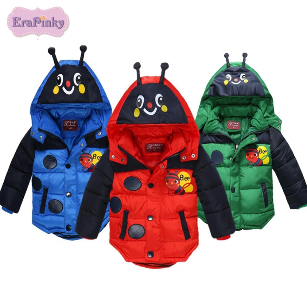 f9eb1974fe24 Erapinky 2018 Cartoon Bee Hooded Down Parka Jackets For Kids Boys ...