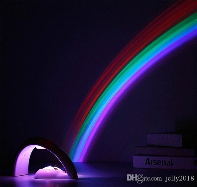Colorful LED Rainbow Light Baby Kids Children Child Night Light Romantic Christmas Projector Lamp for Sleeping Bedroom
