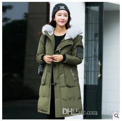 ba774a79bf2b4 2019 Winter Jacket Women Long Parka Fur Collar Hooded Down Coat Female Plus  Size S 5XL Army Green Black Warm Coat From Akaya