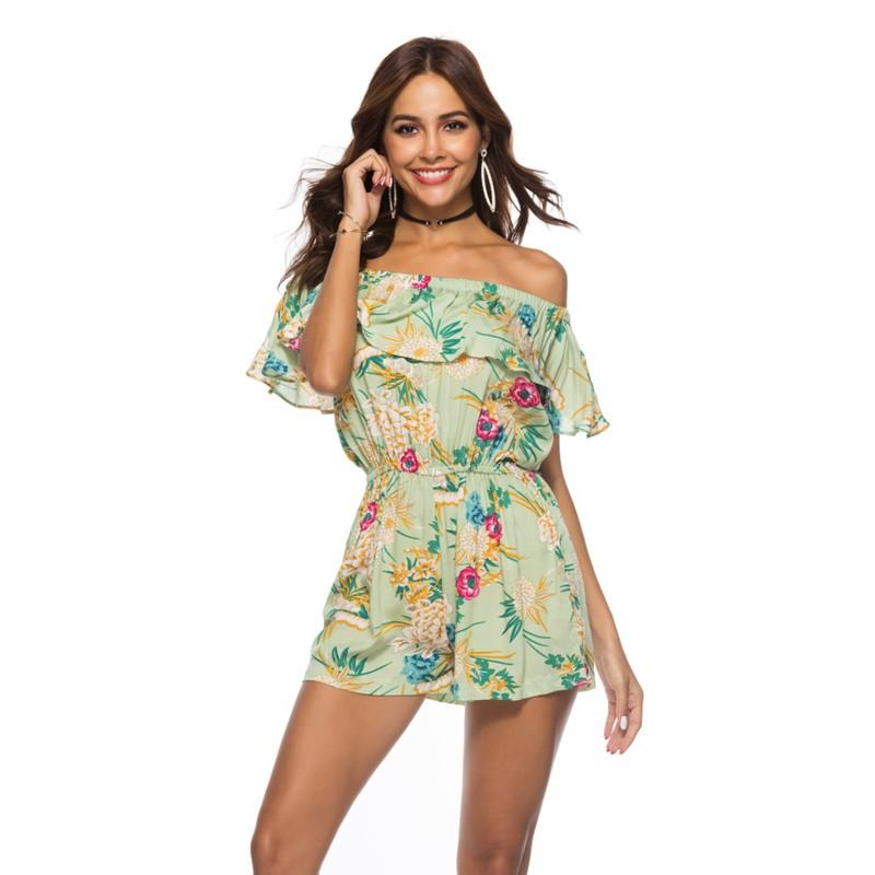 9f80815534a 2019 Womens 2018 Floral Print Playsuits Summer Green Romper Playsuit Plus  Size Xxl Off Shoulder Loose Shorts One Piece Overalls 8022N From  Chengdaphone03