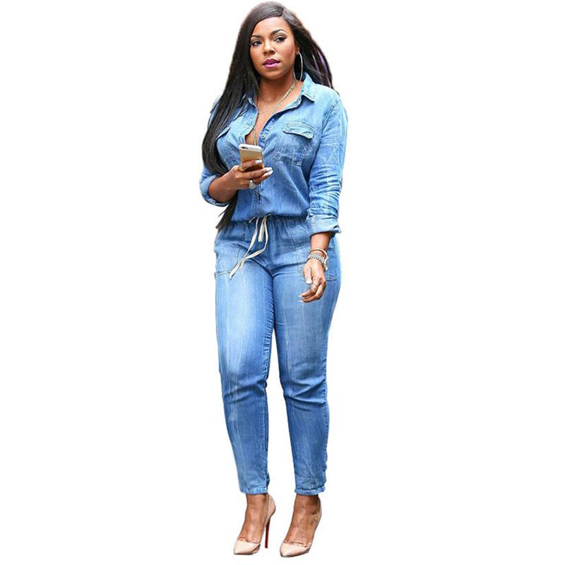 03b8e1890709 2019 Street Fashion Denim Jumpsuits For Women 2017 Plus Size Long Sleeve  Female Rompers Womens Loose Blue Ladies Jumpsuits Jeans 3XL From  Wangleme011