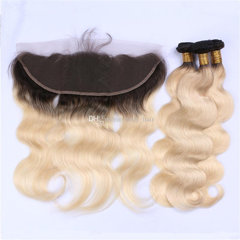 Dark Roots Platinum Blonde Lace Frontal Closure with Ombre Hair Bundles 1B 613 Blonde Peruvian Body Wave Hair Weaves and Lace Frontal