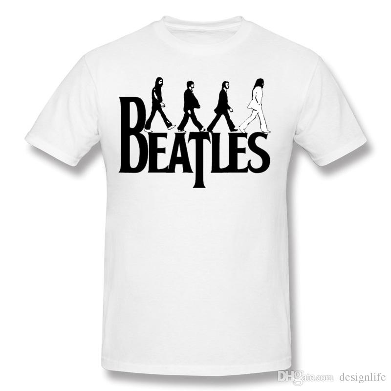 New Coming Hombre Pure Cotton The Beatles Logo Transparent T Shirts Round Collar Purple Short Sleeve Shirt Plus Size Gift Design