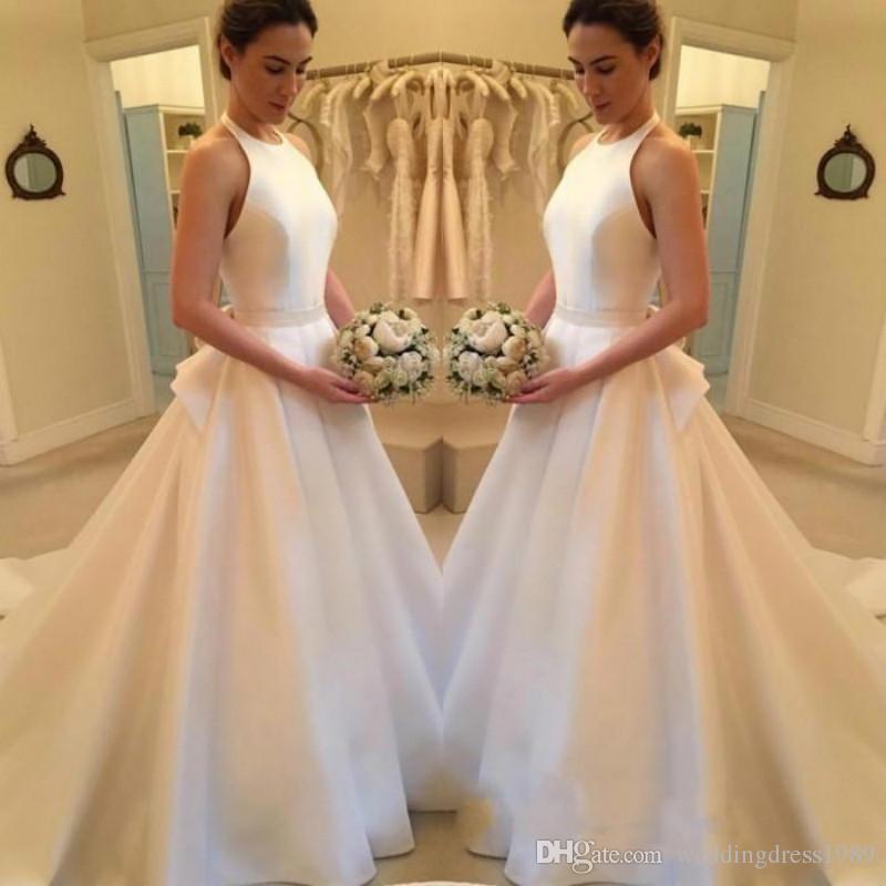 c7b32ffdd867 Discount Stunning Halter Neck Satin White Wedding Dresses Simple Train  Sleeveless Ball Plus Size Custom Vestido De Novia Formal Bridal Gown Arabic  Wedding ...