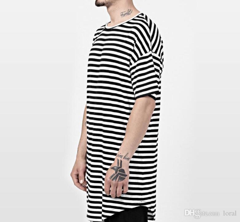 Mens Striped T-shirts Long High Street Red Black Tshirt Longline Hem Curved Kanye Tees GD Tops Short Sleeved