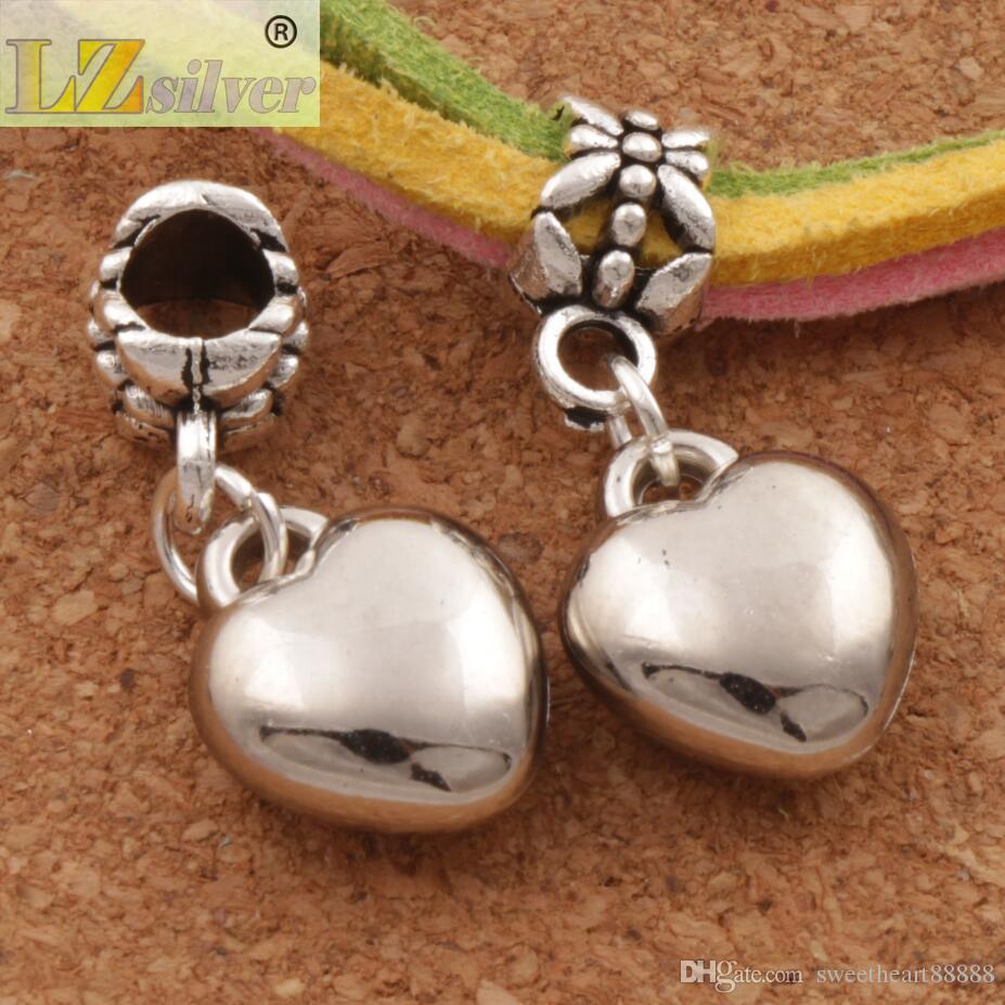 Kärleksfullt hjärta legering stora hål pärlor / mycket nytt antik silver passform europeisk charm armband mikrofon