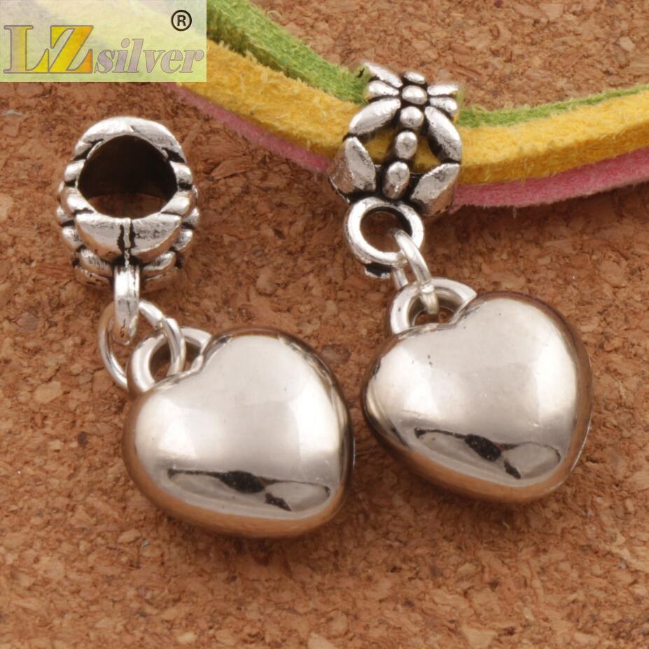 Loving Kalp Alaşım Big Hole Boncuk 100 adet / grup Yeni Antika Gümüş Fit Avrupa Charm Bilezik MIC