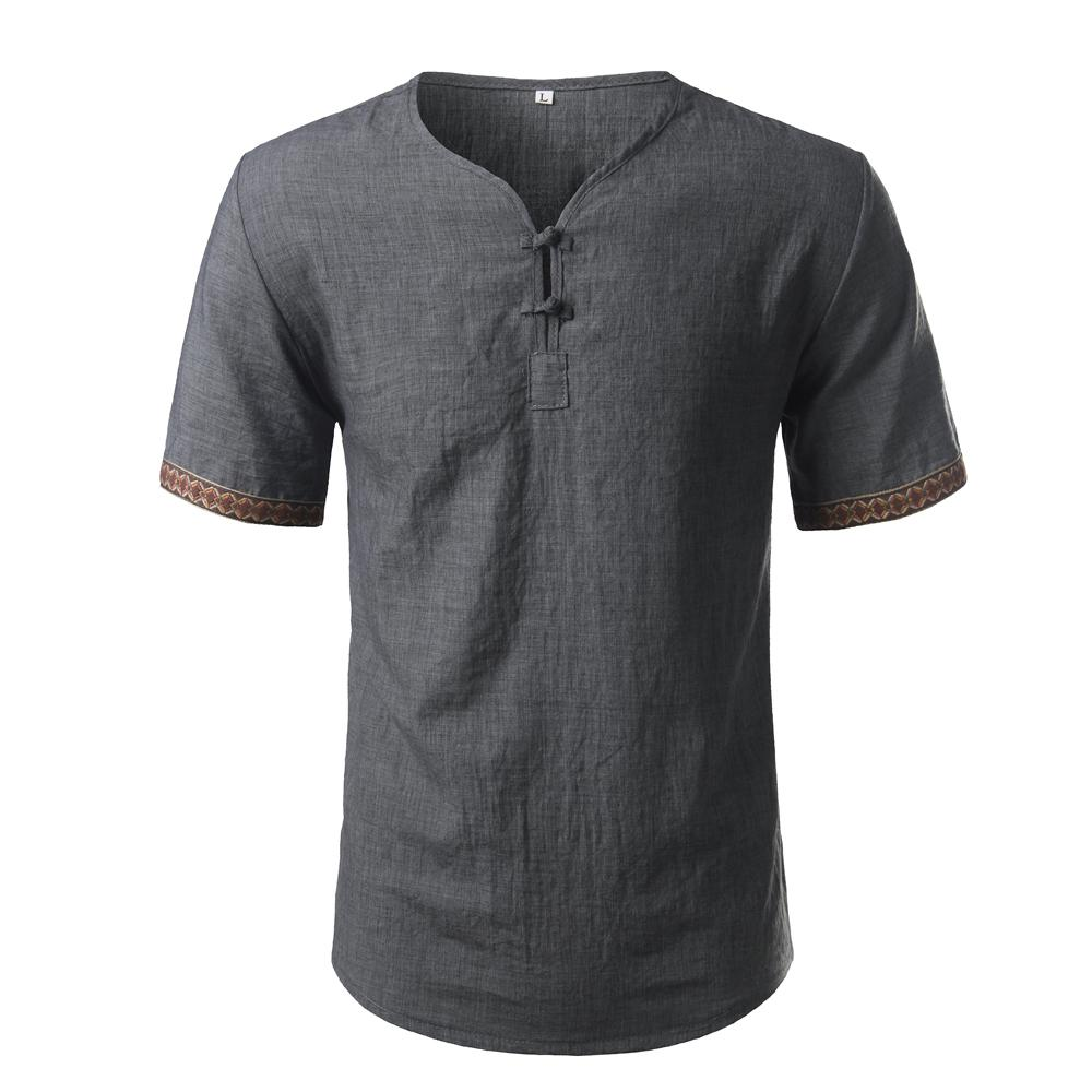 Compre Camisa De Lino De Algodón Hombres Marca Manga Corta Para Hombre  Henley Camisa Casual Slim Fit Camisa De Vestir A Cuadros Para Hombre 3  Botones ... d58ffcc1d416f