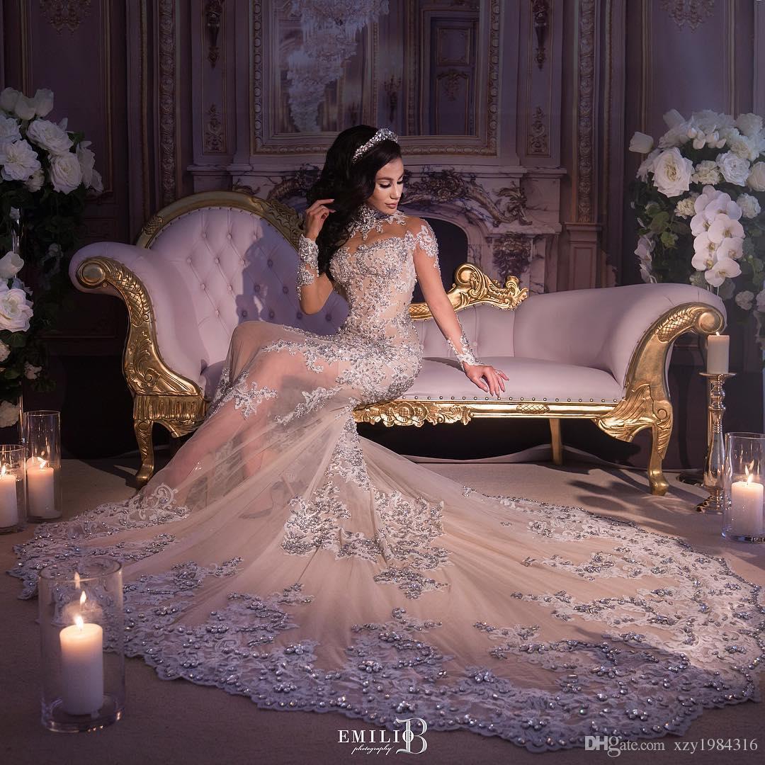Vestido de novia de cristal de diamantes de imitación de lujo Botas de cuello alto Apliques Manga larga Sirena Vestido de novia Vestido de novia de Dubai magnífico Falda larga
