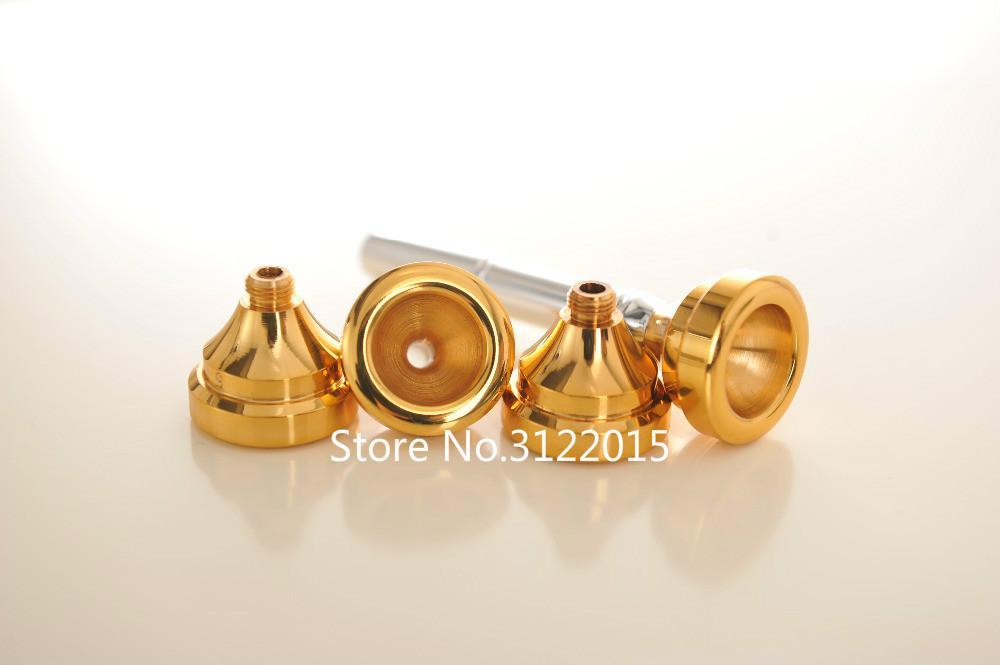 Nueva boquilla de trompeta Bb / LOTE 4 tamaños 7C 5C 3C 1C multiusos laca de oro profesional y boquilla plateada