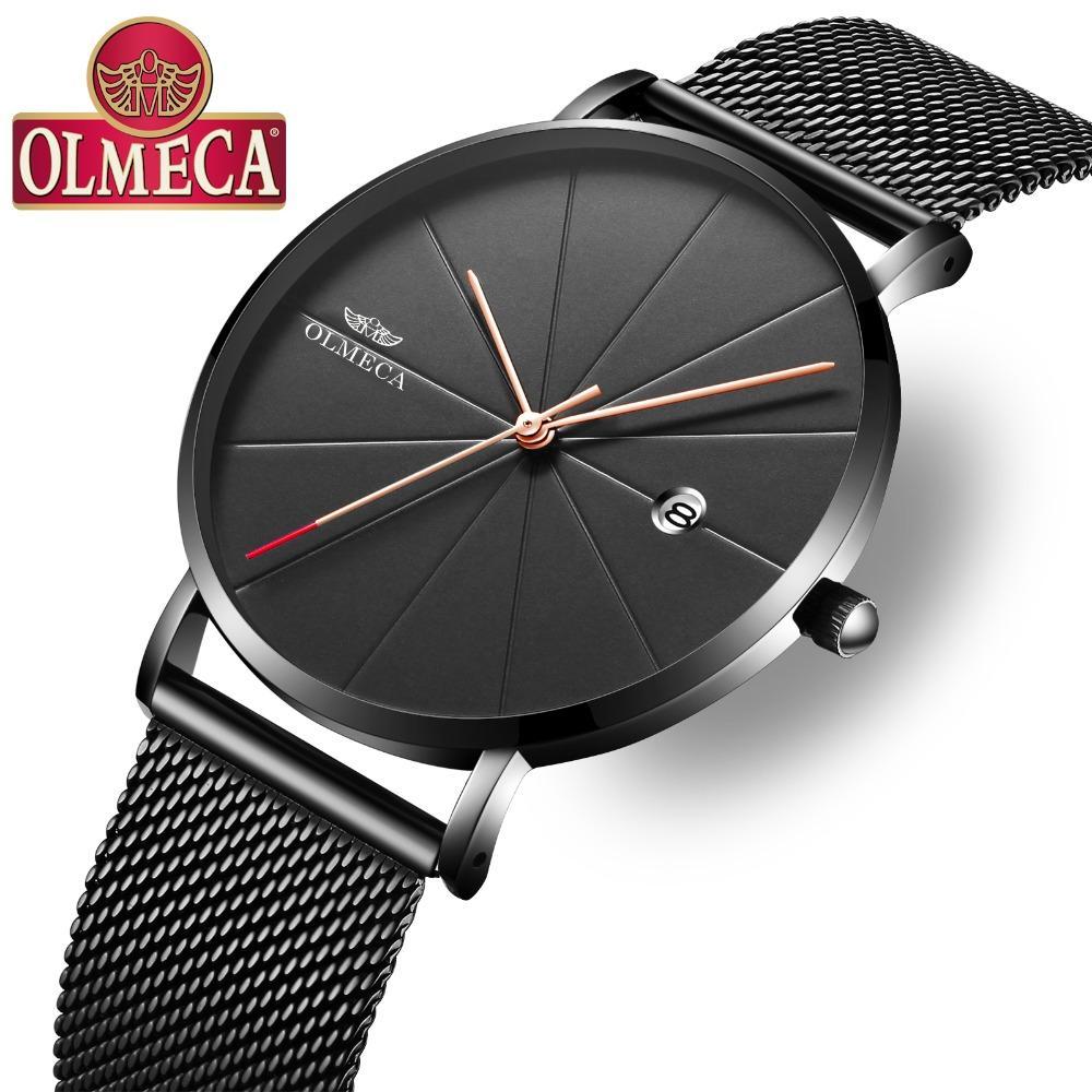 4c28af9e9e8 Compre OLMECA Quartzo Relógios Masculinos Moda Reloj Hombre Calendário  Completo Relógio De Pulso 3ATM À Prova D  Água Relógios Para Homens Banda  Liga De ...