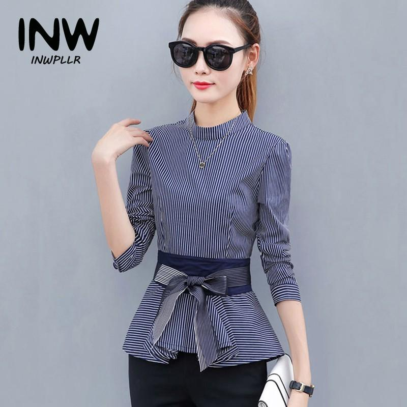 24d7960fe61 2019 2018 Newest Women S Peplum Tops Blue Striped Blouses Casual Bow Long  Sleeve Rayas Shirts For Female Fashion Autumn BlusasY1882403 From  Zhengrui07