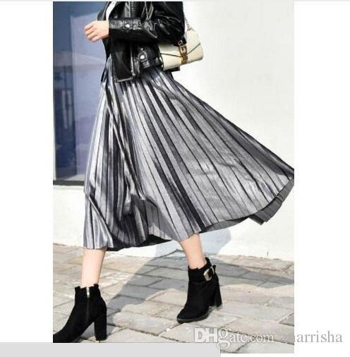 1ab11ec6d6 2019 Women Long Metallic Silver Maxi Dress Pleated Skirt Midi Skirt High  Waist Elascity Casual Party Skirt From Marrisha, $31.95 | DHgate.Com