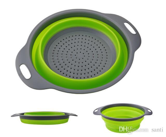 Hot 2 unids / set Colador de Silicona Plegable Fruta Vegetal Cesta de Lavado Colador Drainer Herramienta de Cocina