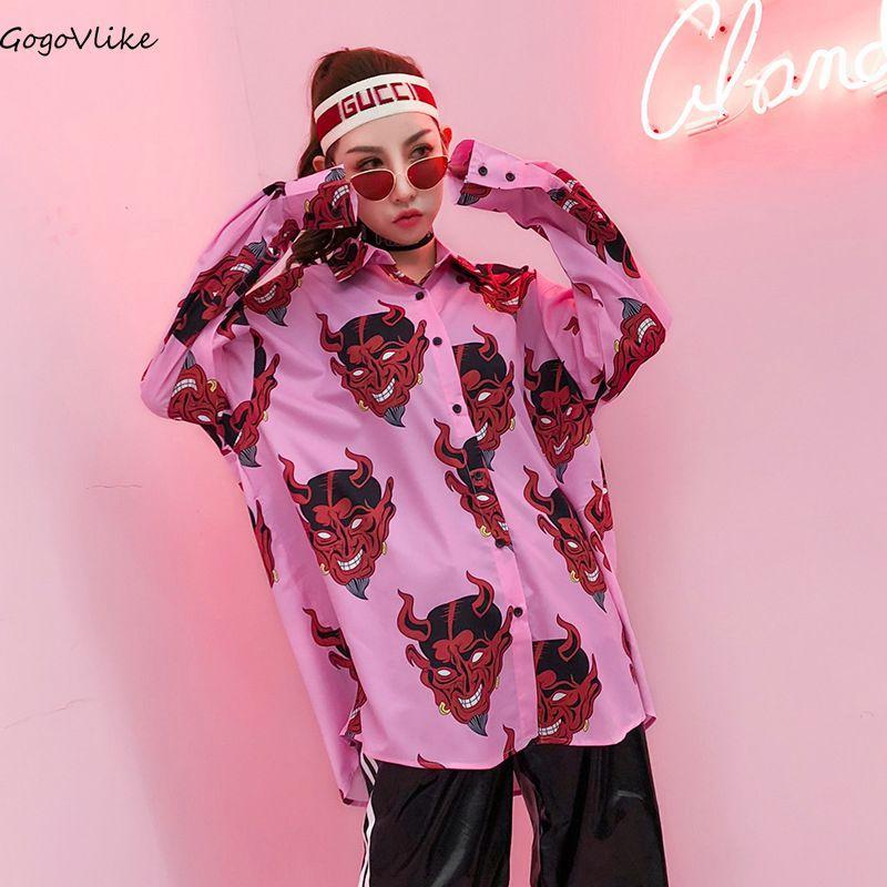 6dfb5e53c5f503 2019 Pink Blouse Devil Print Oversize Blouses 2018 Spring Women Tops And  Shirt Plus Size Long Sleeve Ulzzang LT319S30 From Longmian, $43.37 |  DHgate.Com