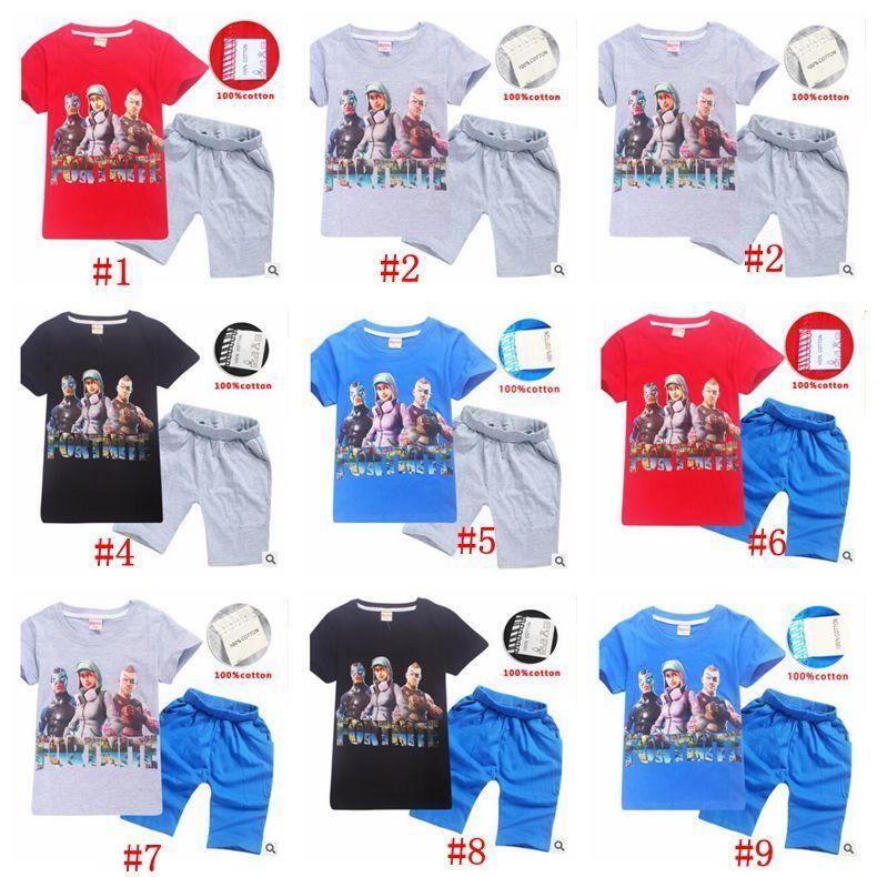 9f20288095 Summer Fortnite Kids Clothes Baby Girls Boys Shorts Cartoon Tshirt Cotton T  Shirt Pants 2pcs Set Children Clothing