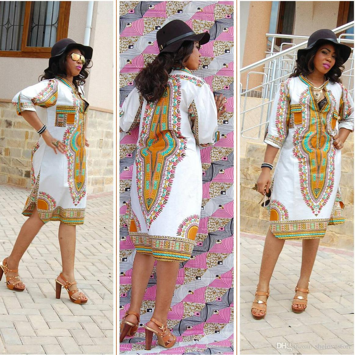 3XL Plus Size Wholesale African Clothes Dashiki Dress for Women Casual  Summer Hippie Print causal dress Dashiki Fabric Femme Boho Robe Femme